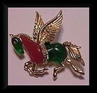 Hattie Carnegie Pegasus fantasy horse pin-unsigned