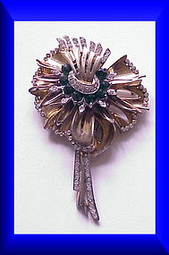 Reinad Giant gold pave & emerald green lily brooch