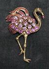 "Trifari Pink Flamingo brooch  3 1/2"" x 2"""