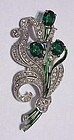 Trifari Alfred Philippe emerald floral spray brooch