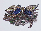 Coro sterling vermeil 'Bill & Coo' lovebirds  duette