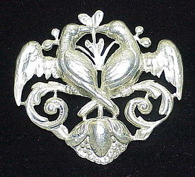 Cini sterling  love birds brooch