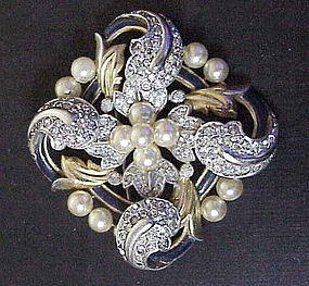 Trifari 'Alfred Philippe' Empress Eugenie gold enamel +