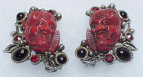 Selro corp/ Paul Selenger red Okina mask earrings