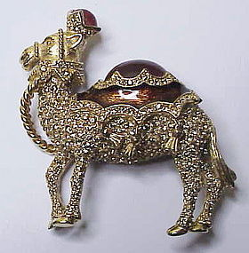 Ciner jeweled enameled camel brooch- large & super