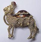 Ciner jeweled enameled camel brooch- large & super