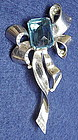 Reja  sterling bow  brooch-topaz colored  center stone
