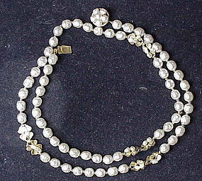 Miriam Haskell baroque creamy white pearl necklace 23.5