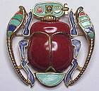 Carnegie Egyptian Revival scarab brooch / pendant