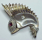 Trifari sterling jelly belly sailfish fur clip brooch
