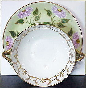 Limoges (T & V) two handled soup with under plate