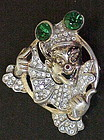 Sterling vermeil rhinestone clown brooch - Marslieu?