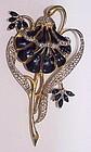 Coro A. Katz enamel trembler lotus flower brooch,duette