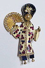 Ciner Asian woman brooch with enamel & rhinestones