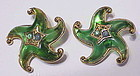 Trifari green jelly lucite gold tone starfish earrings