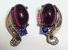 Trifari sterling  jelly belly ruby & sapphire earrings