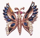 Corocraft rose gold vermeil sterling butterfly brooch