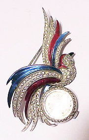 Boucher like bird with Crosby lapel watch brooch