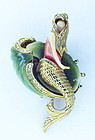 Carnegie thermoplastic & rhinestone mermaid brooch