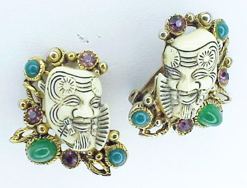 Selro  gold tone Noh earrings -white with rhinestones