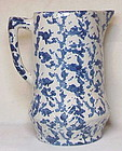 Spongeware pitcher,  blue sponging on white