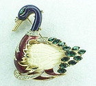 Carnegie enamel faux ivory & lapis swimming swan with emerald feathers