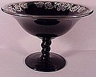 Sterling overlay ebony glass compote