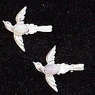 Sterling  blue bird  faux moonstone belly scatter pin