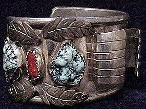 "Navajo 1 1/2"" watch cuff with turquoise and coral"