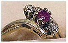 10K yellow gold ruby and diamond ring size 5+