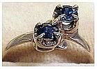 14K yellow gold sapphires ring size 6 3/4