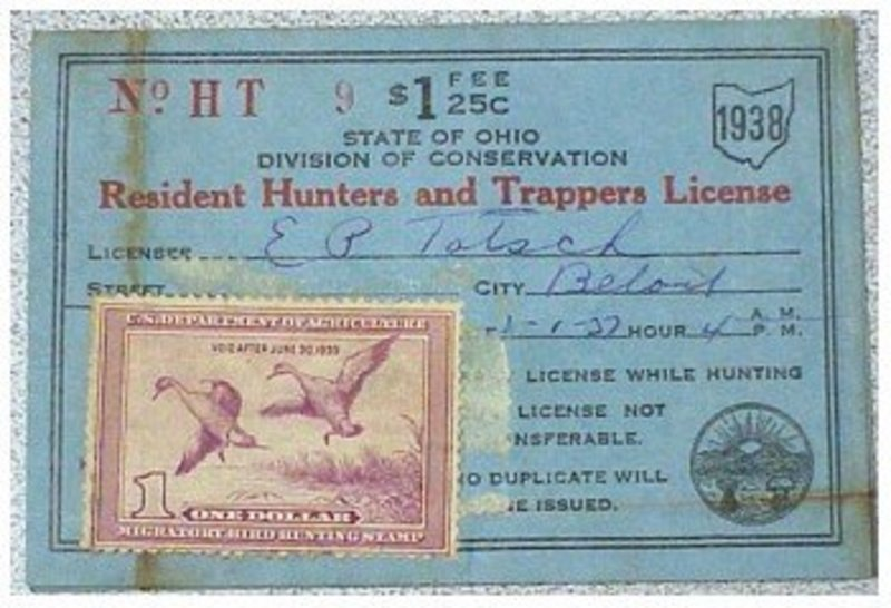 Ohio 1938 resident hunting trapping license item 625320 for Non resident florida fishing license