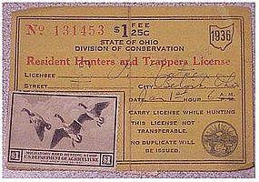 Ohio 1936 resident hunting  & trapping license