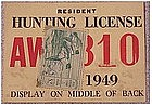 Ohio 1949 resident hunting  & trapping license