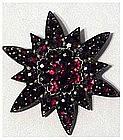 Victorian Bohemian garnet star burst brooch / pin