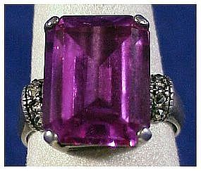 Sterling , marcasite amethyst glass ring