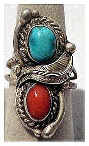 Navajo Genuine Turquoise & Coral Sterling Silver Ring
