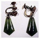 Jade screw back gold filled earrings