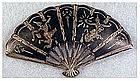 Niello sterling Siam fan pin / brooch