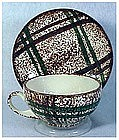 Rustic Plaid Blue Ridge Southern Pottery cup & saucer