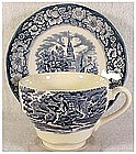 Liberty Blue cup and saucer set (flat) by Staffordshire