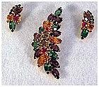 Juliana: fruit salad unfoiled rhinestone pin & earrings