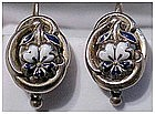 18K ca1840 white enamel yellow gold Victorian earrings