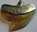 14K+ Hawaiian 3 D tiger shark tooth