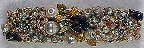 Original by Robert rhinestone & pearl encrusted bar pin