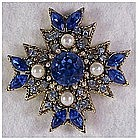 Maltese Cross pearls, blue rhinestones gold color