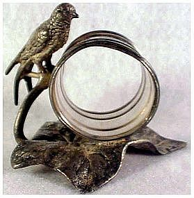 Victorian Meriden long tailed bird...banded napkin ring