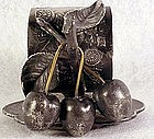 Victorian Acme Silver Co three cherries napkin holder