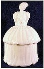 Akro Agate Lady milk glass powder jar