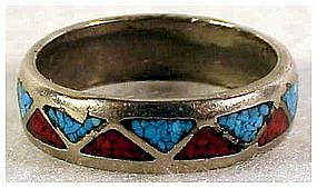 Sterling Turquoise & Coral Wedding Band- Size 12